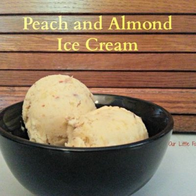 Toasted Almond and Peach Homemade Ice Cream