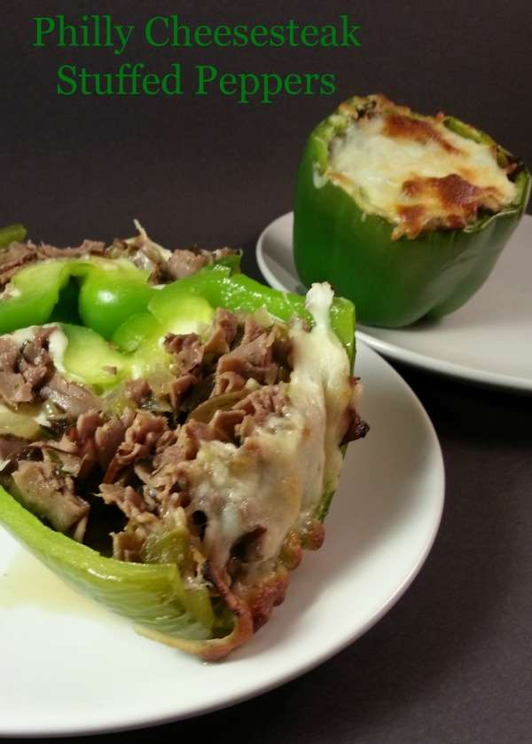Gluten free & low carb. high protein, gooey melty cheese.... Philly Cheesesteak Stuffed Peppers