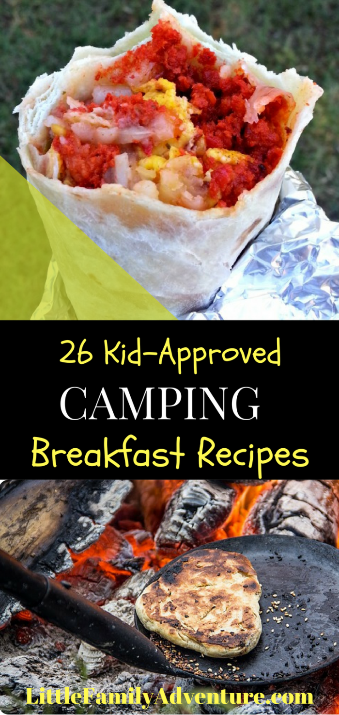 Forget the bagels and the cereal on your next family camping trip - Here are 26 kid-approved camping breakfast ideas that are perfect for any campout - There's everything from make ahead camping breakfast burritos to on site breakfast skillets.