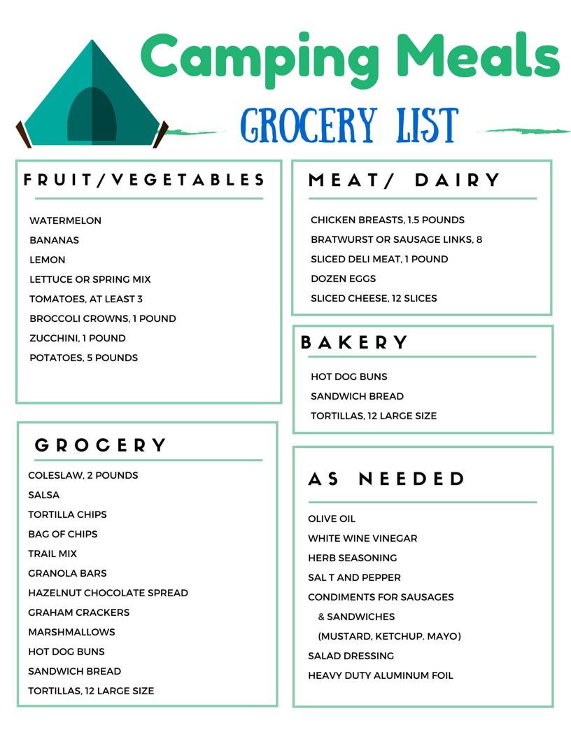 Camping Grocery List for weekend camping food menu | Camping Food ...