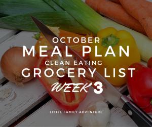 Clean Eating Meals Grocery List -October Week 3