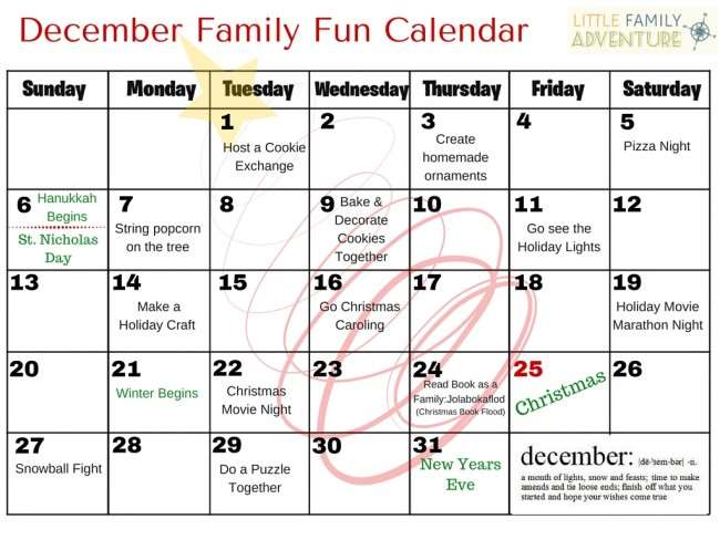 December Kids Calendar : December family fun calendar things to do with the kids
