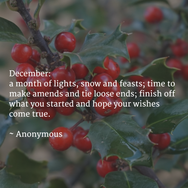 December Family Fun Calendar - December Quote