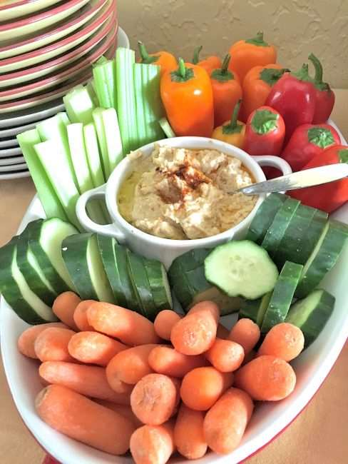 Class hummus and vegetable platter - Tortilla Roll Ups - 5 Layer Dip with Tortilla Chips - The Best Appetizers Ready in Just 20 Minutes - Make Entertaining Easier #HummusMadeEasy ad