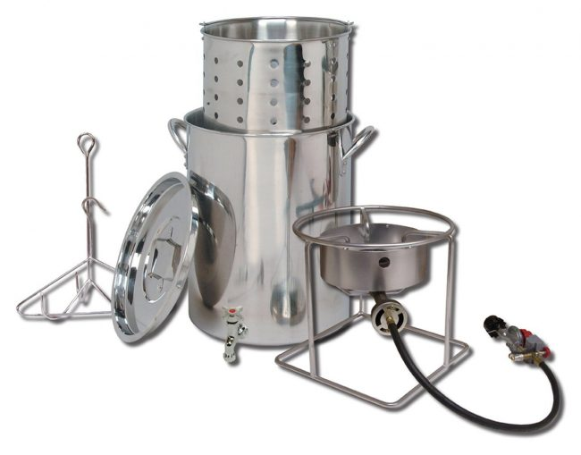 King Kooker steel cooker and propane burner to cook low country boil outdoors.