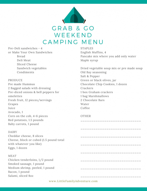 Outdoor cooking on a campfire - Grab and Go 3 day camping menu with recipes ideas for breakfast, lunch, and dinner. It's the camping meal planner complete with meals and printable grocery list