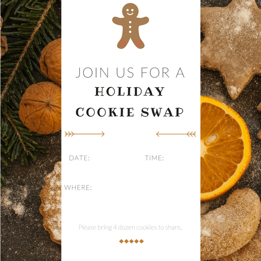 How to Host a Stress-Free Holiday Party - Printable Invitation for a holiday cookie swap