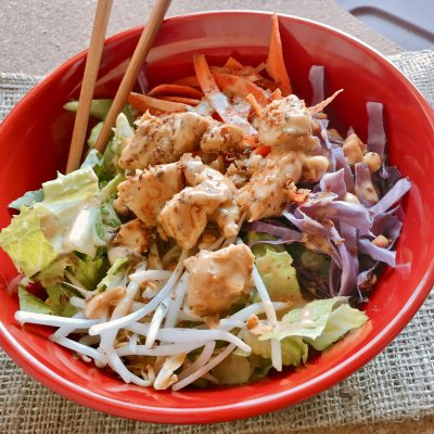 Rainbow Thai Chicken Salad with Peanut Dressing & #EatCleanwithBarleans Giveaway