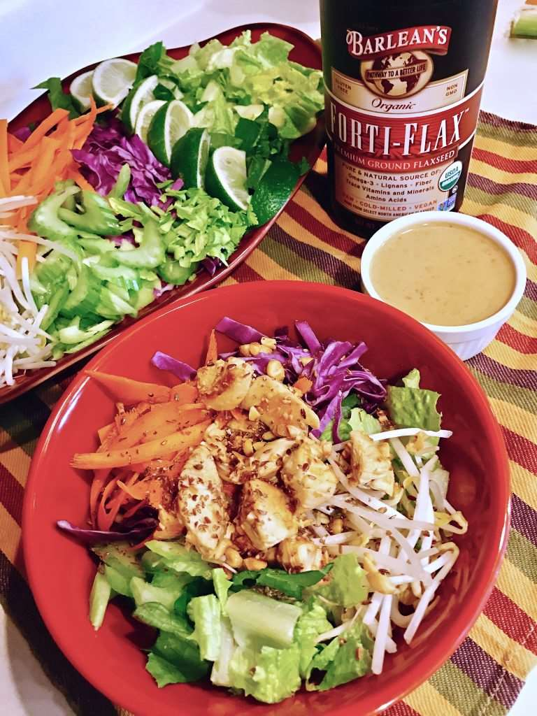 Rainbow Thai Chicken Salad with Peanut Sauce Dressing - Delicious way to eat clean and have dinner ready in under 20 minutes #EatCleanWithBarleans #ad