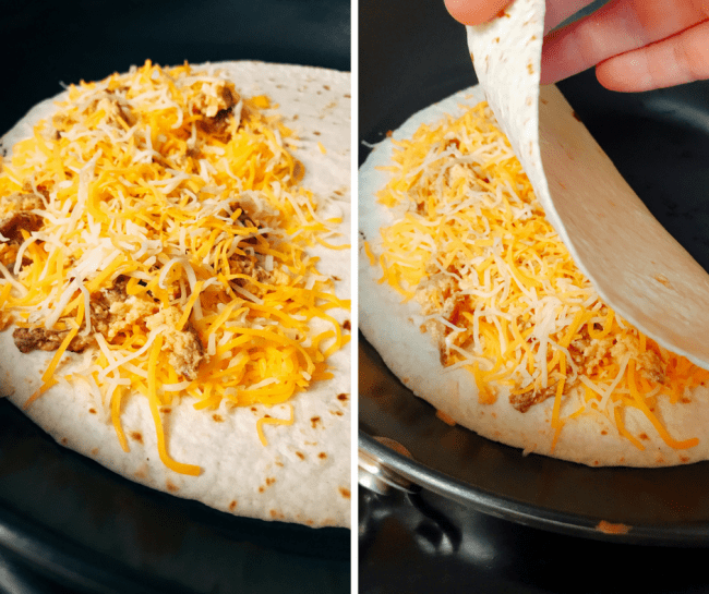 Camping Breakfast Quesadillas - cheesy goodness that sound good any time of day so why not for breakfast. Chorizo, eggs, salsa and lots of cheese