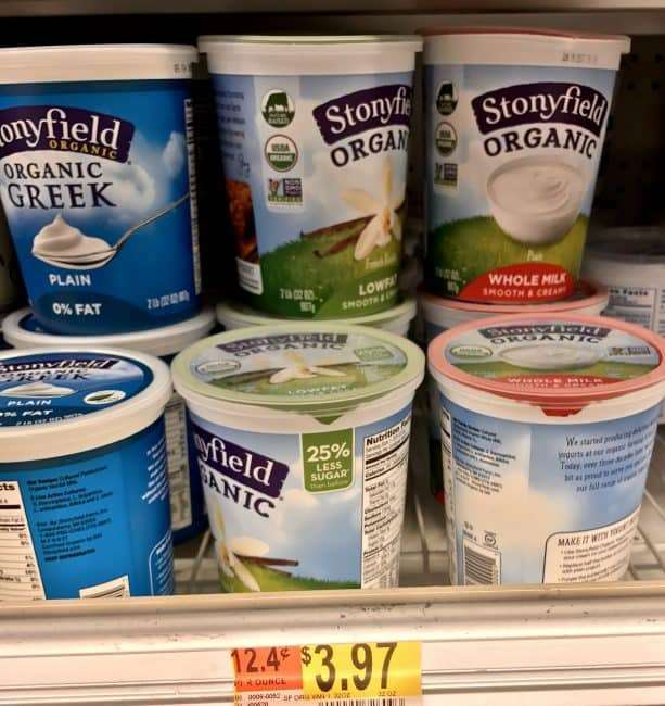 Start each morning with protein in Stonyfield yogurt parfaits - Walmart has great prices on Stonyfield and other organics