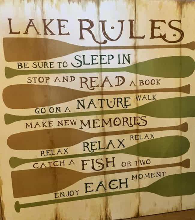 Lake Rules - Enjoy Each Moment