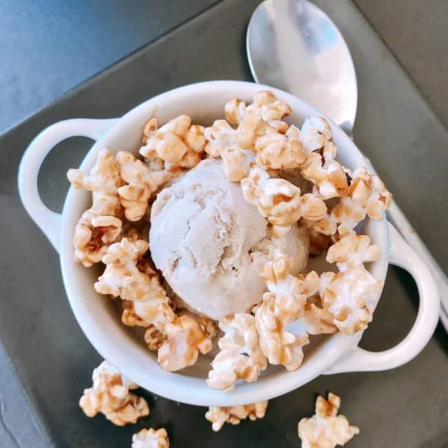 Brown Sugar Ice Cream with Caramel Popcorn   #popwithbarleans