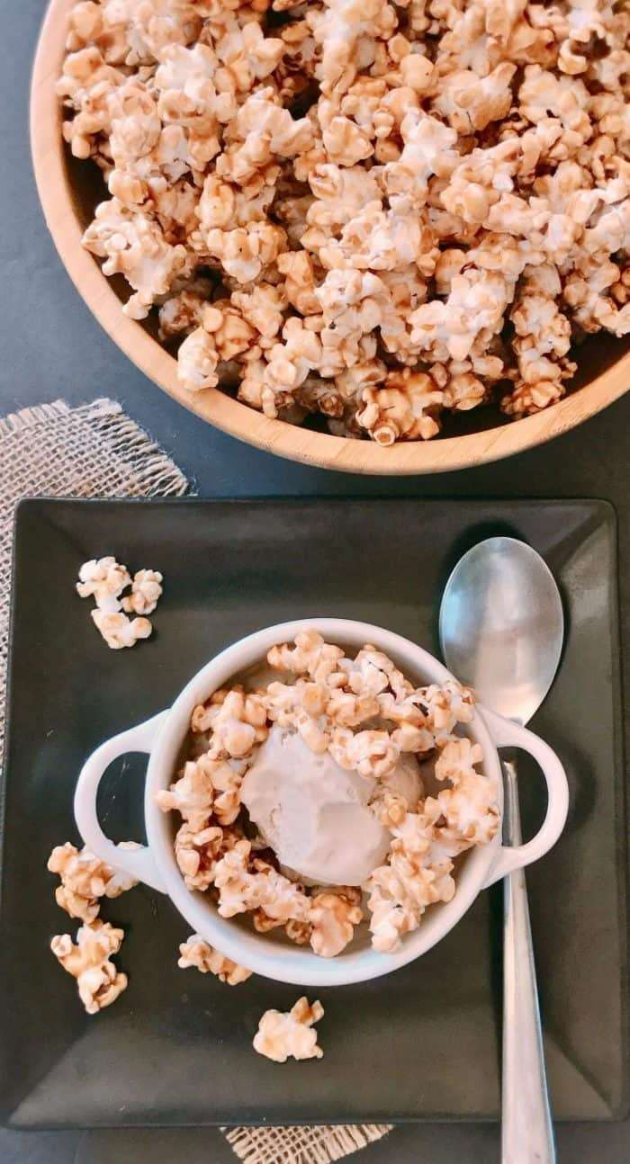 Brown Sugar Ice Cream with Caramel Popcorn inspired by the Steen's Cane Syrup Caramel Popcorn Dome from Fisher's Upstairs at Orange Beach Marina - Vegan coconut ice cream with a simple vegan caramel topping. Delicious , just delicious!!!