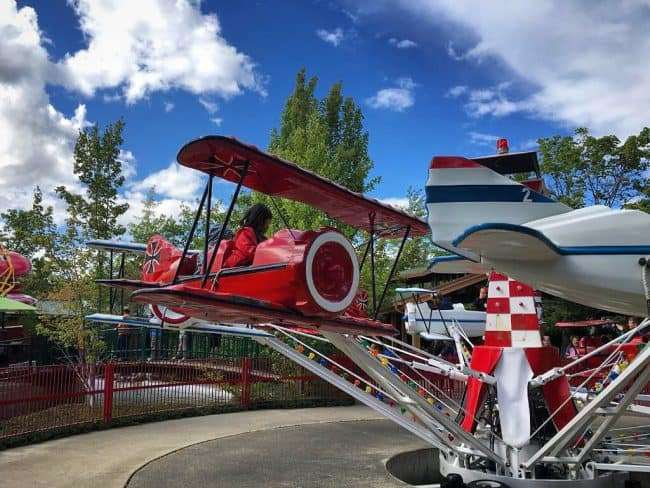 The Red Baron at Silverwood Theme Park's Garfield's Summer Camp. It's a fun ride for tiny tots.