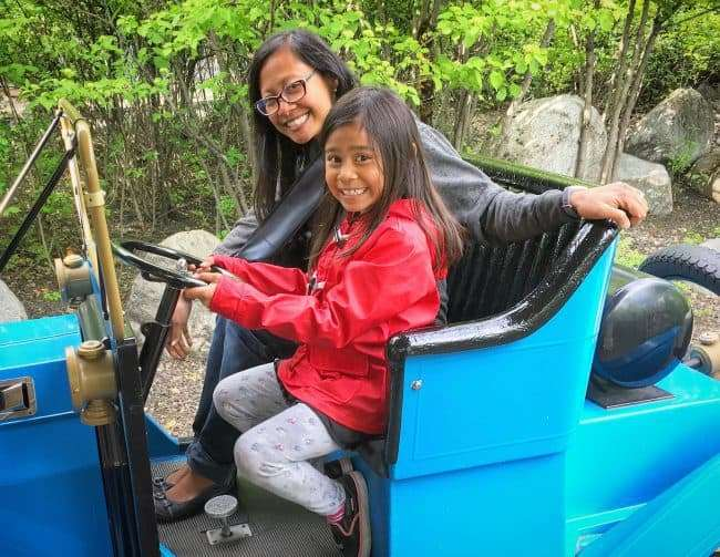 Riding the Antique Cars at Silverwood Theme Park in Athol Idaho - Family fun for all ages