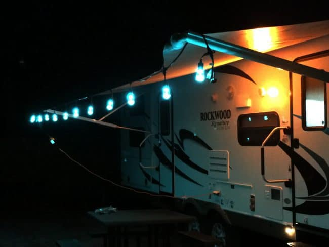 Camping/RV Hack - Lighten Up Your Camping or RV Space with a string of LED lights like these Enbrighten Seasons Color Changing Café Lights #ColorCafeLights