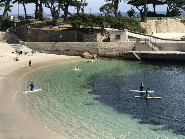 Lovers Point Beach in Pacific Grove is just up the beach from Cannery Row and is one of the area's best swimming beaches.