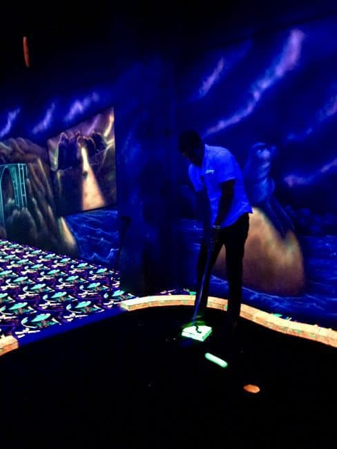 Black Light Mini Golf is just one of the fun things to do in Cannery Row and Monterey CA