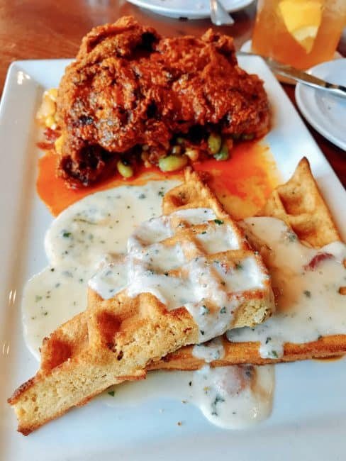 Tennessee hot chicken and Carrot Cake Waffle - Tusk and Trotter American Brasserie