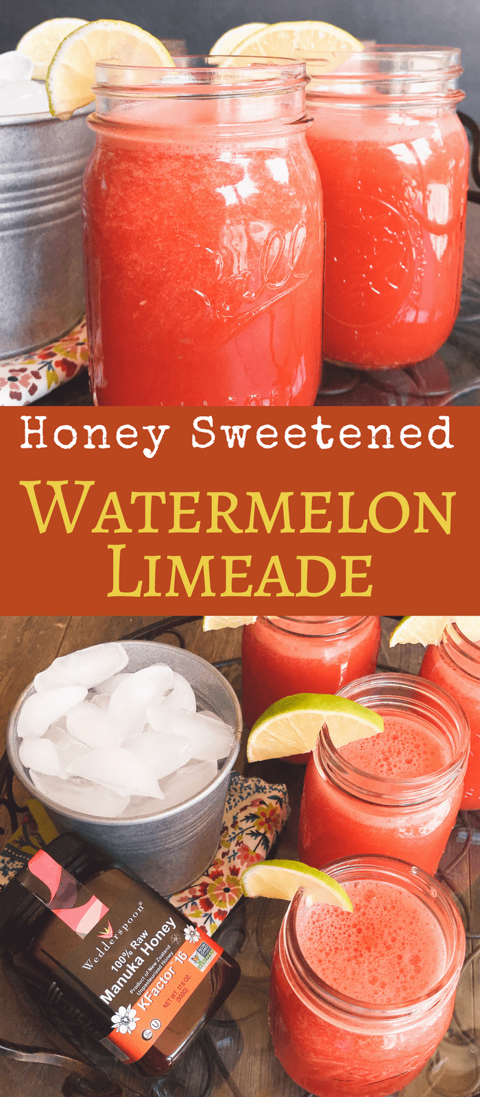 Three ingredient Watermelon Limeade is super simply and so refreshing on a hot summer day. Naturally sweetened with honey for a sweet treat