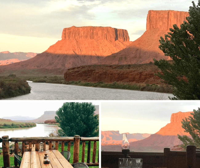 View of the Red Cliffs an Colorado River from The Cowboy Grill