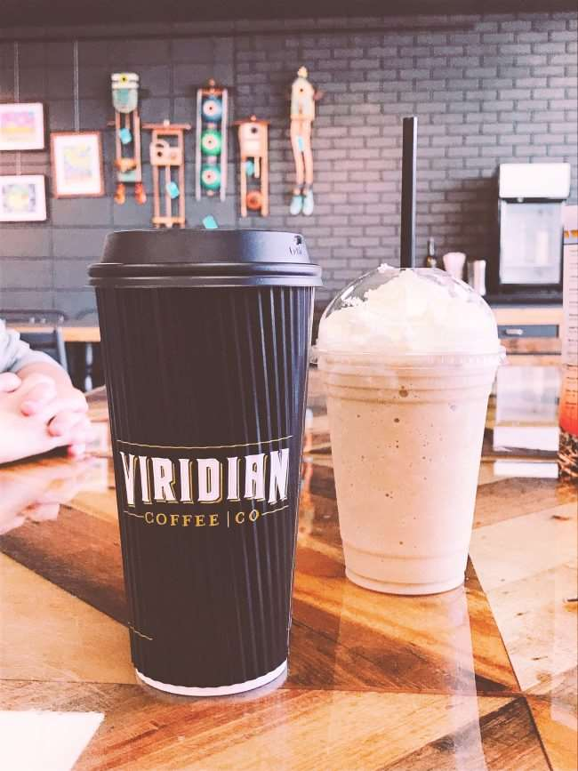 For your Weekend Getaway in Oklahoma for Families (South-Central Oklahoma), visit local Viridian Coffee for a great cup of coffee