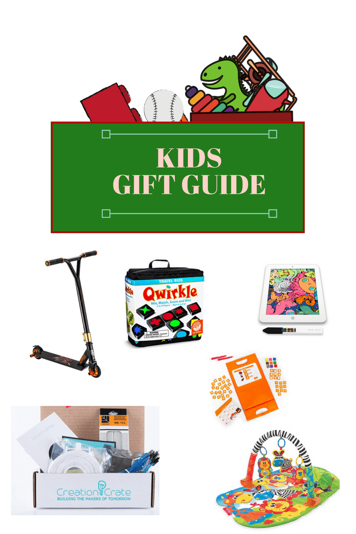 Kids Gift Guide - Gift Ideas featuring infant toys, games, outdoor toys, scooters, and high-tech gadgets
